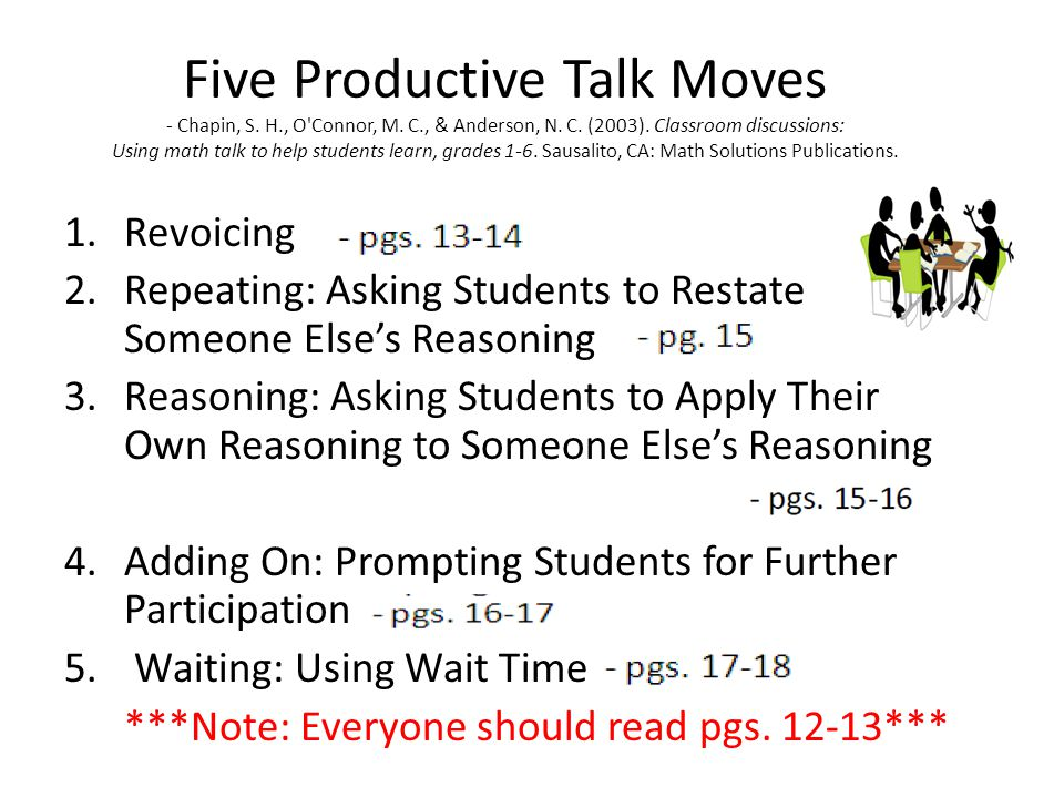Five Productive Talk Moves - Chapin, S. H. , O Connor, M. C