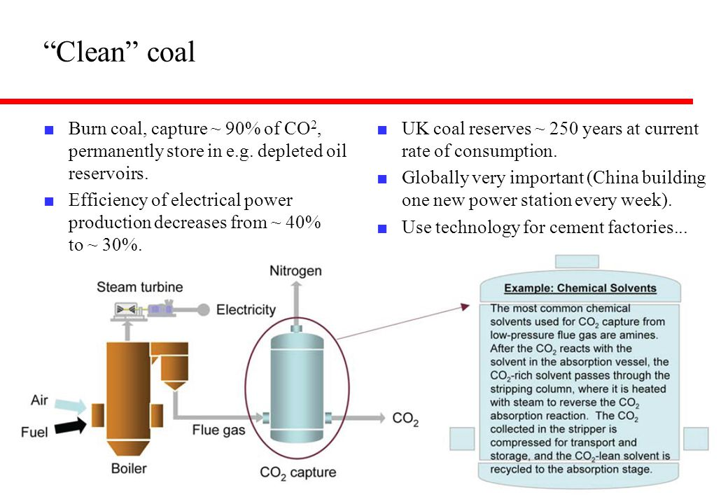 Clean coal Burn coal, capture ~ 90% of CO2, permanently store in e.g. depleted oil reservoirs.