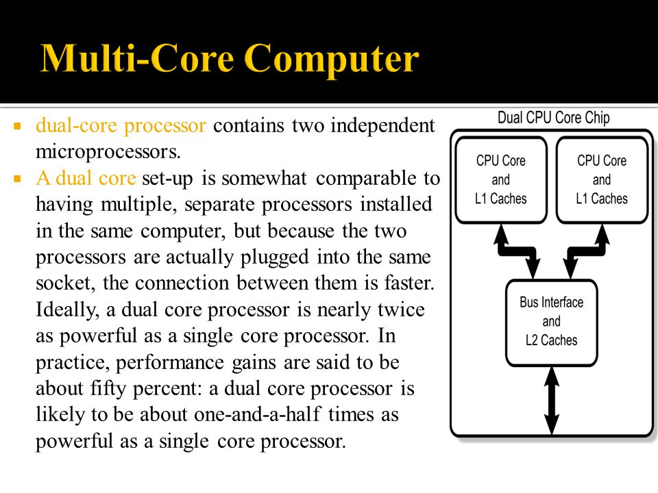 Multi-Core Computer dual-core processor contains two independent microprocessors.