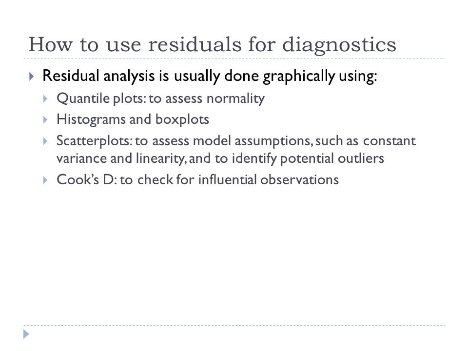 How to use residuals for diagnostics