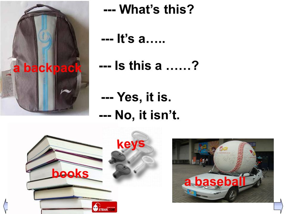 a backpack --- What's this --- It's a….. --- Is this a …… --- Yes, it is. --- No, it isn't. books.