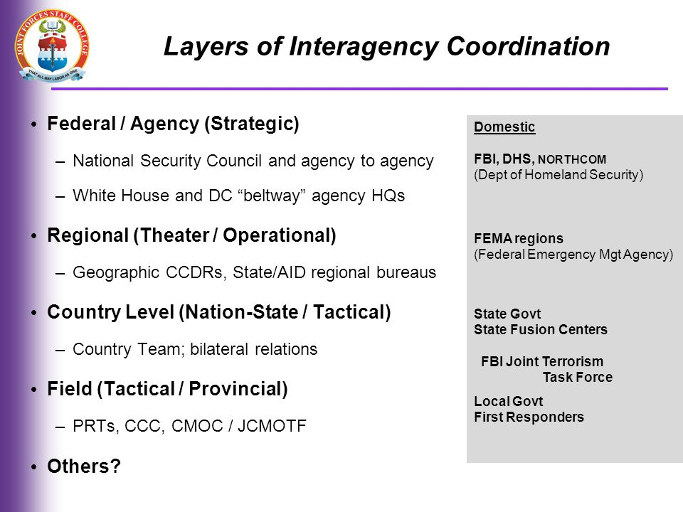 Layers of Interagency Coordination
