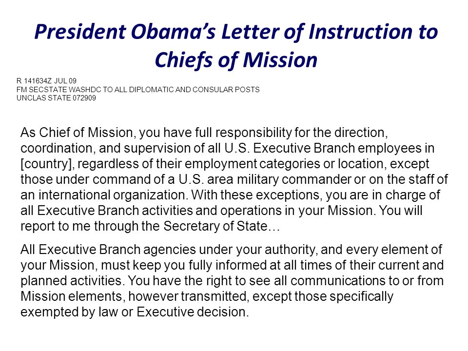 President Obama's Letter of Instruction to Chiefs of Mission
