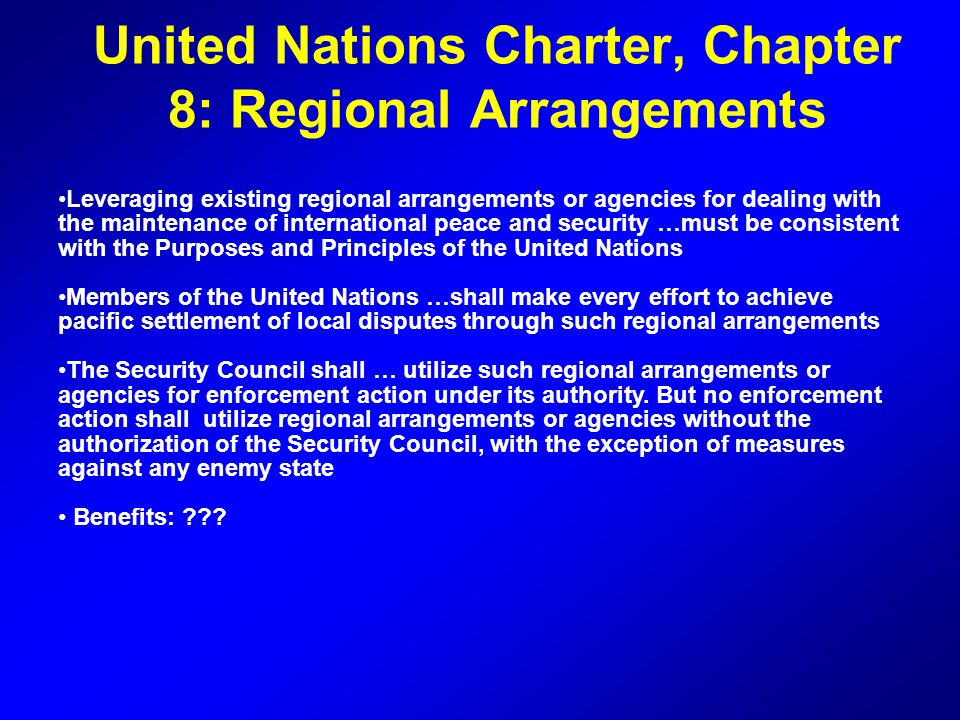 United Nations Charter, Chapter 8: Regional Arrangements