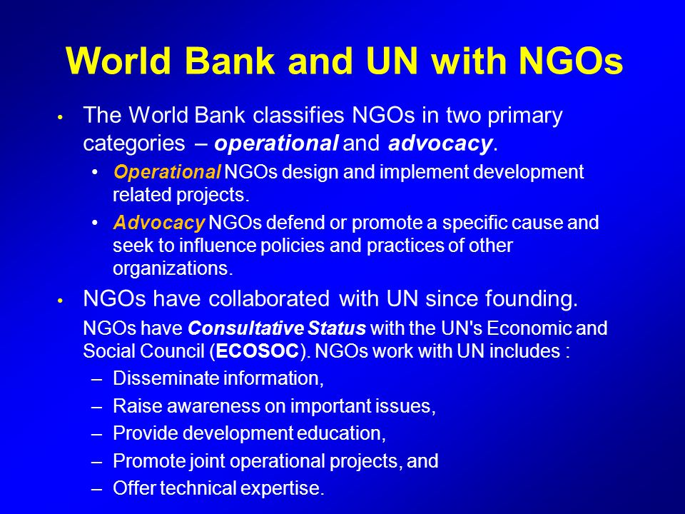 World Bank and UN with NGOs