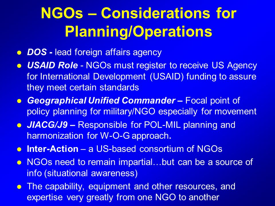 NGOs – Considerations for Planning/Operations