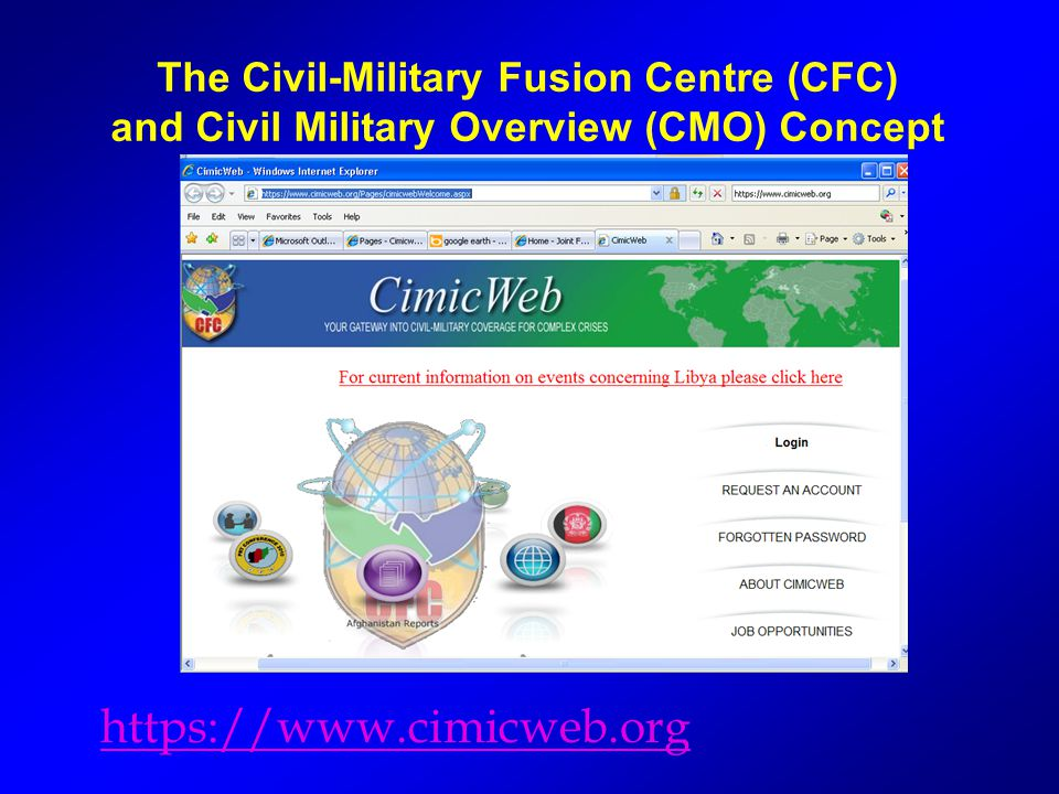 The Civil-Military Fusion Centre (CFC) and Civil Military Overview (CMO) Concept