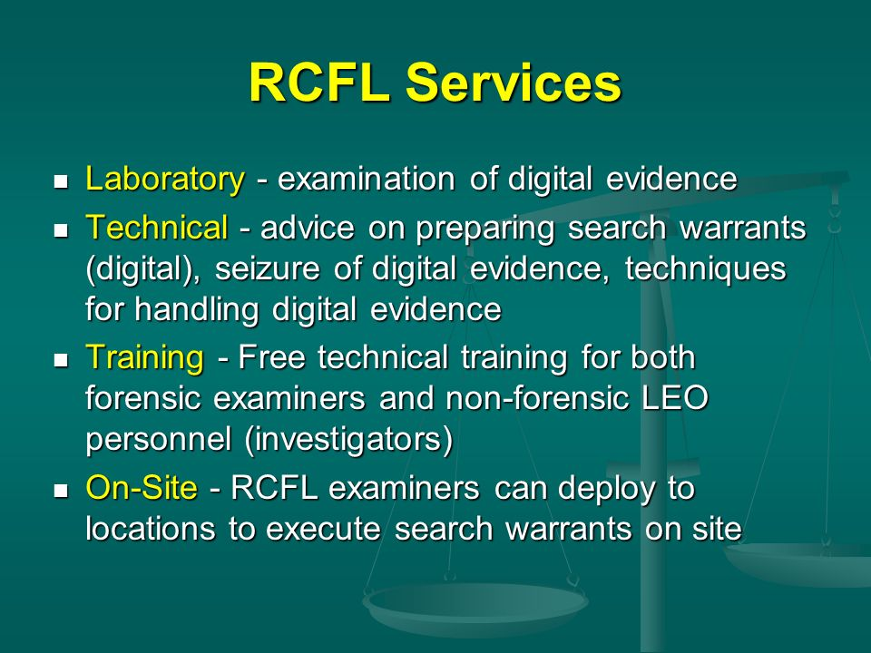 RCFL Services Laboratory - examination of digital evidence