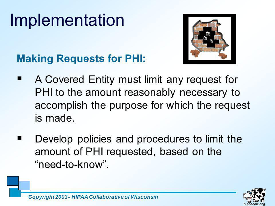 Implementation Making Requests for PHI: