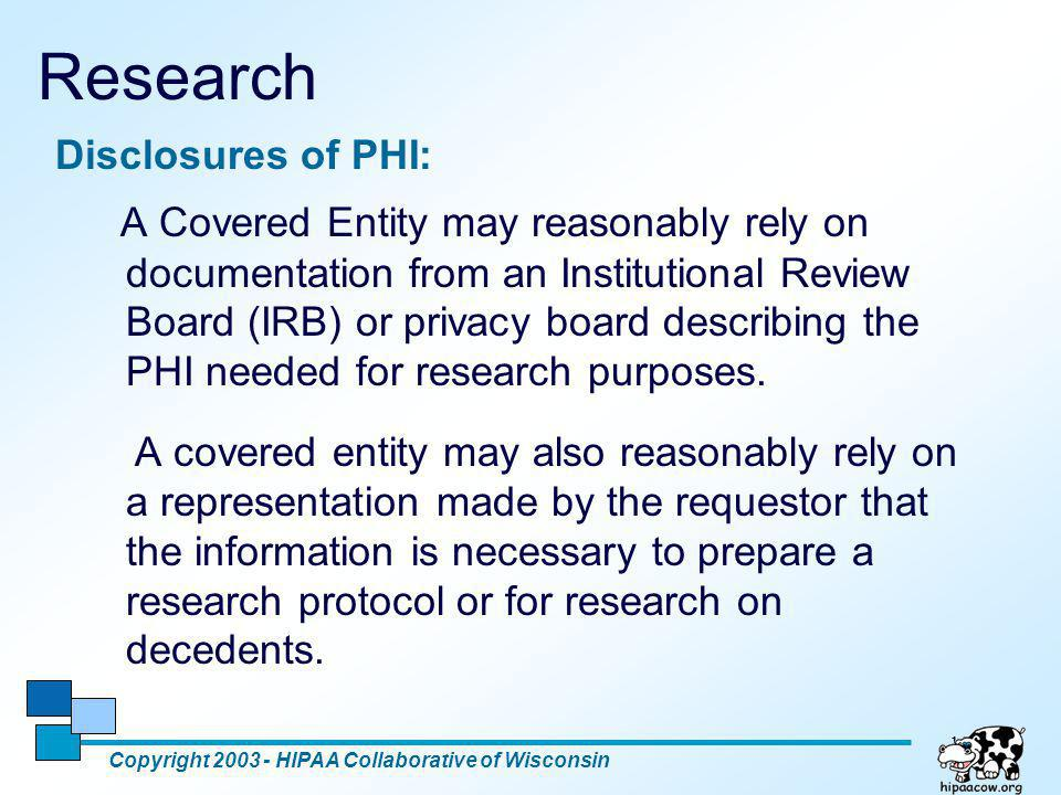 Research Disclosures of PHI: