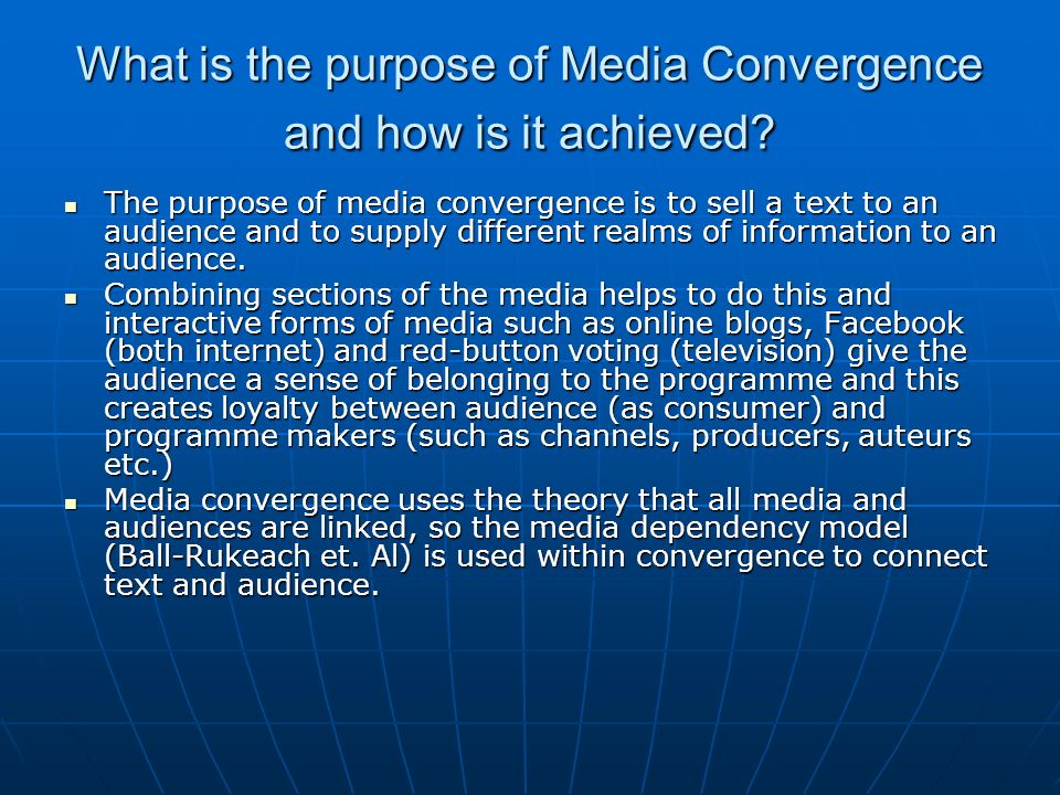 What is the purpose of Media Convergence and how is it achieved