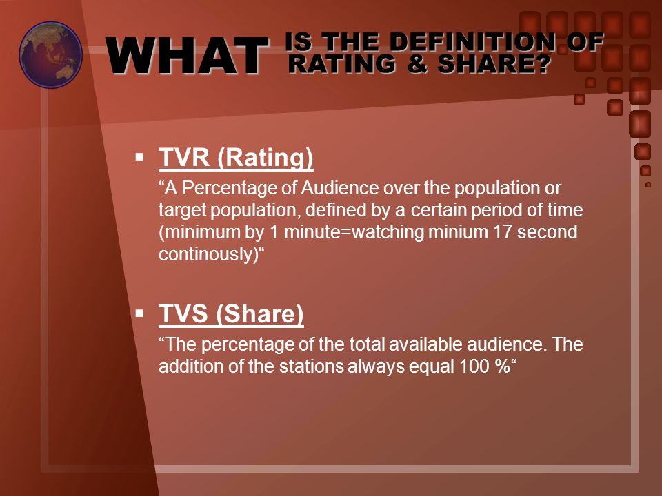 WHAT IS THE DEFINITION OF RATING & SHARE TVR (Rating) TVS (Share)
