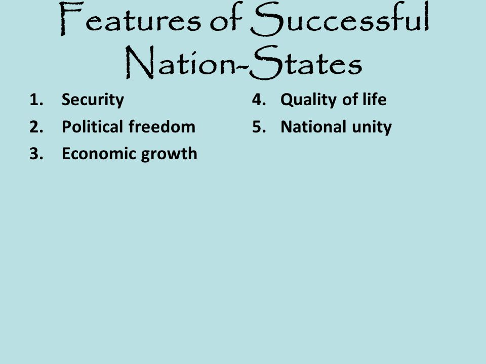 Features of Successful Nation-States