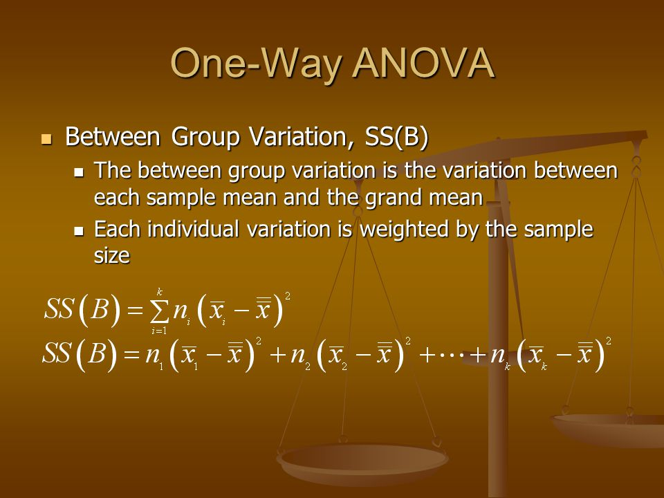 One-Way ANOVA Between Group Variation, SS(B)