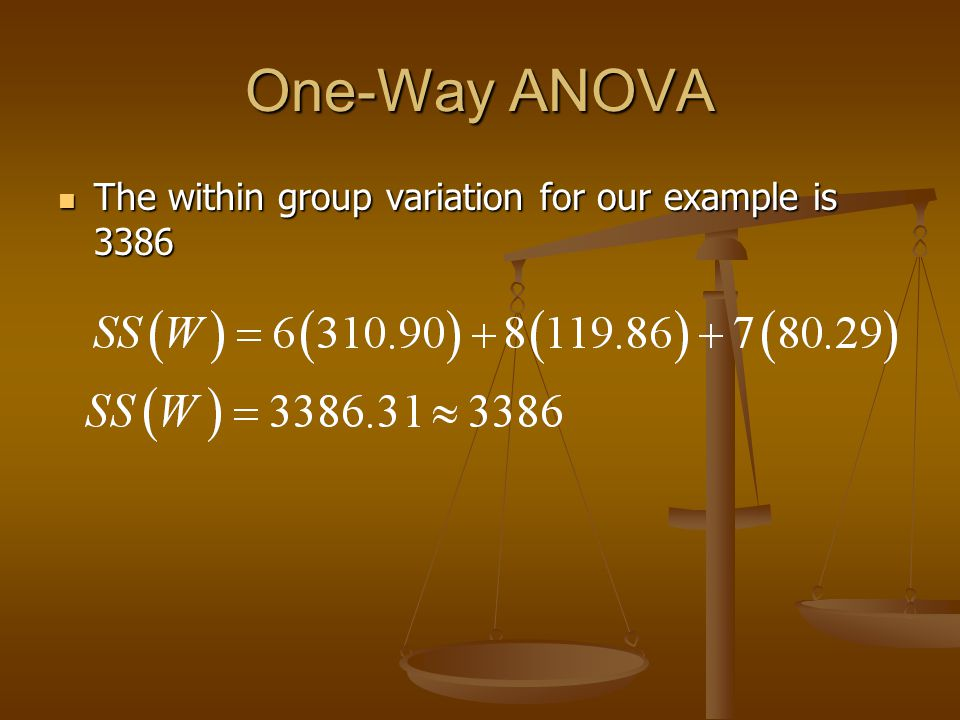 One-Way ANOVA The within group variation for our example is 3386