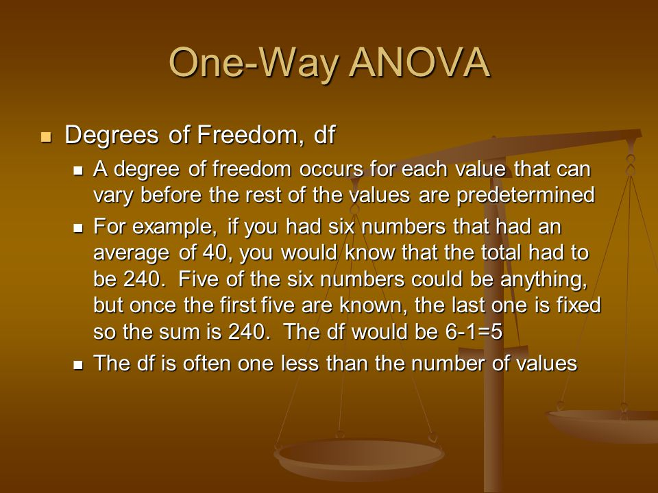 One-Way ANOVA Degrees of Freedom, df