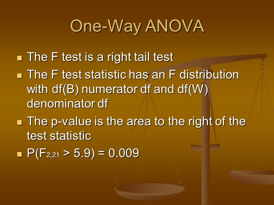 One-Way ANOVA The F test is a right tail test