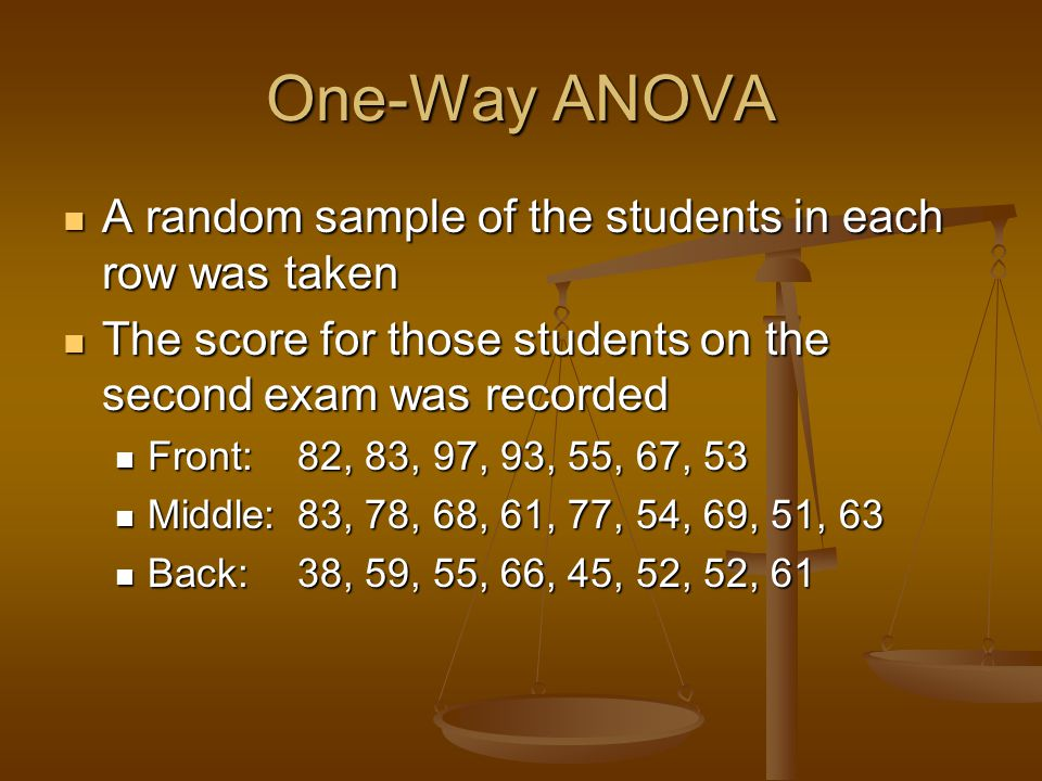 One-Way ANOVA A random sample of the students in each row was taken