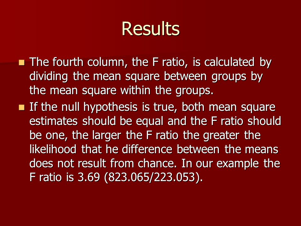 Results The fourth column, the F ratio, is calculated by dividing the mean square between groups by the mean square within the groups.