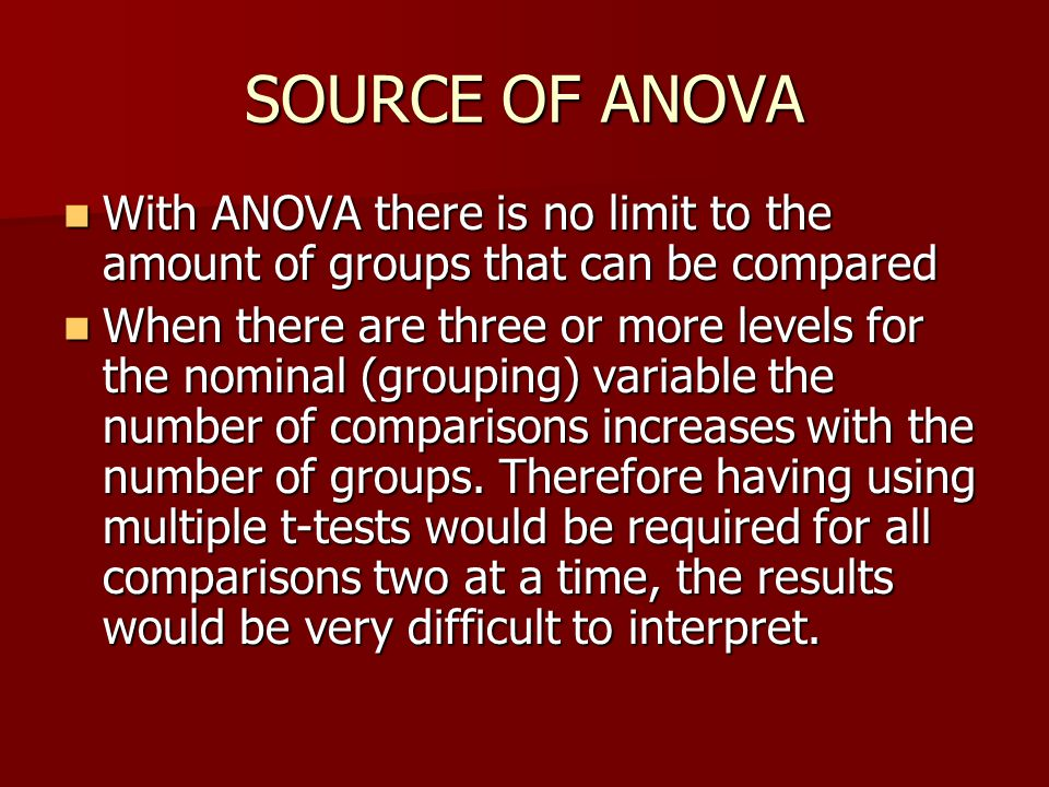 SOURCE OF ANOVA With ANOVA there is no limit to the amount of groups that can be compared.