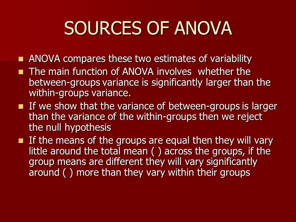 SOURCES OF ANOVA ANOVA compares these two estimates of variability