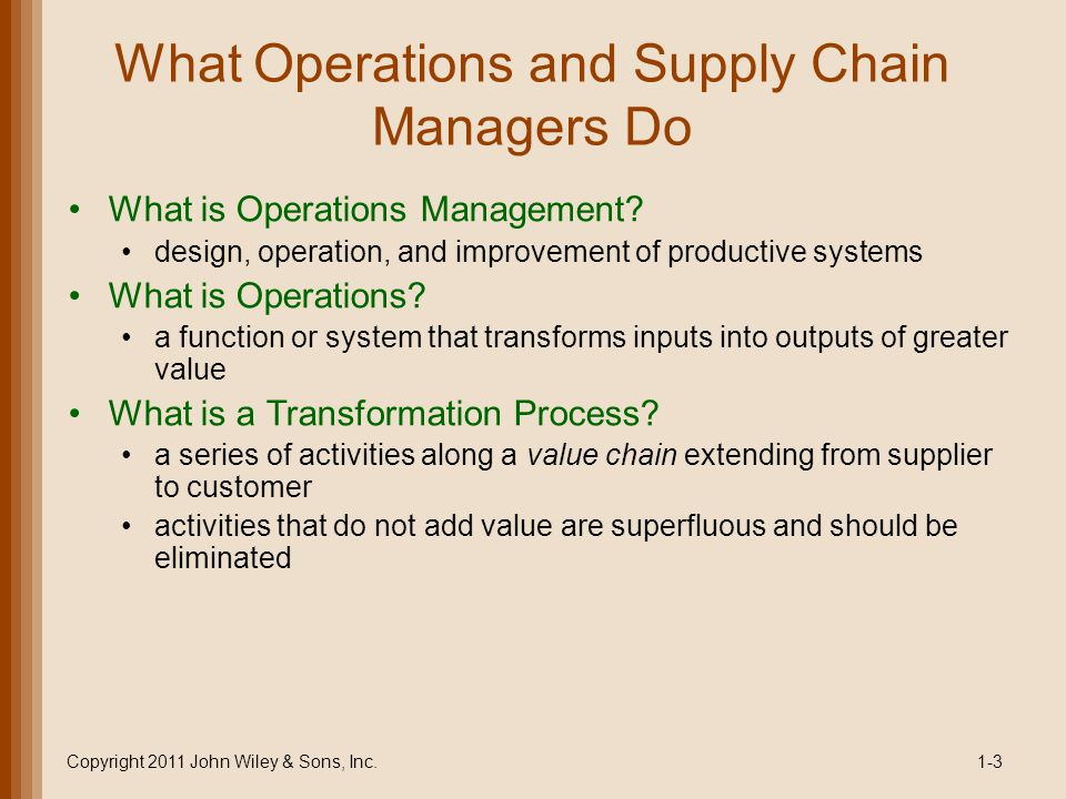 What Operations and Supply Chain Managers Do