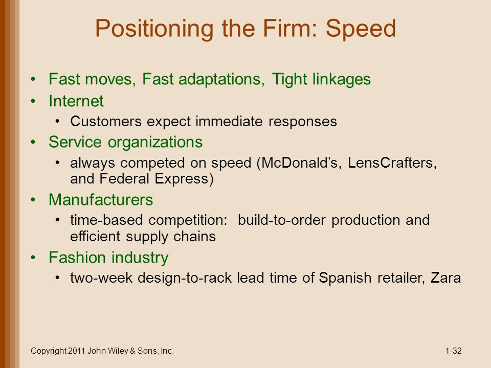 Positioning the Firm: Speed
