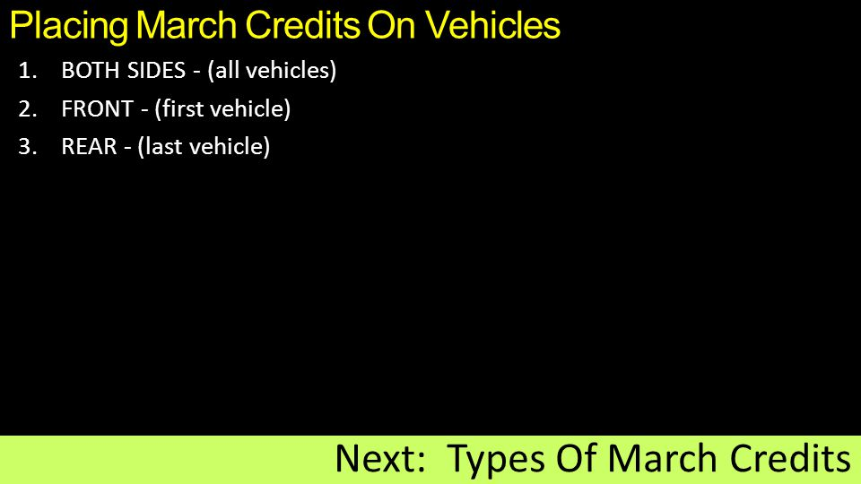 Placing March Credits On Vehicles