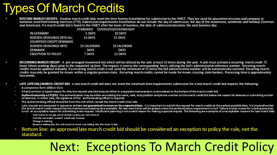 Next: Exceptions To March Credit Policy