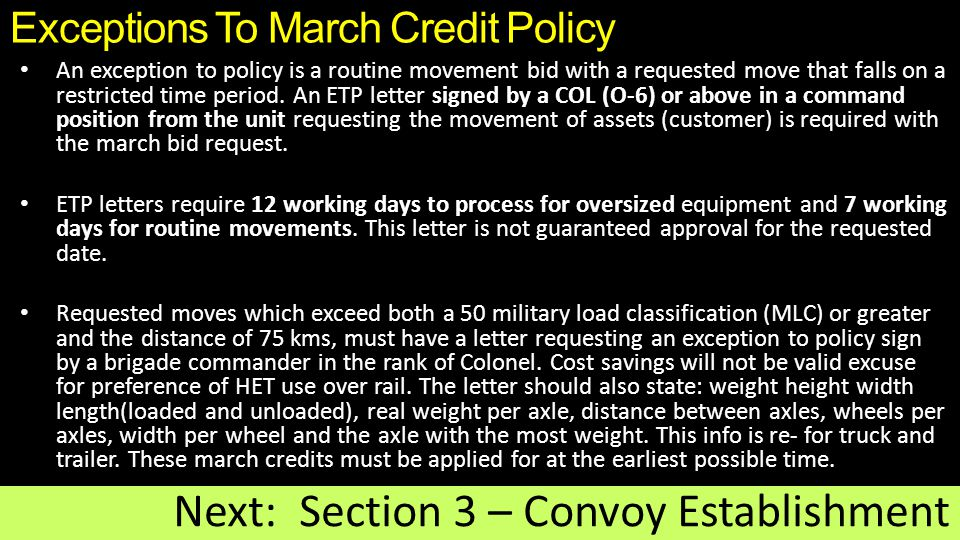 Exceptions To March Credit Policy
