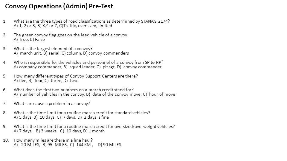 Convoy Operations (Admin) Pre-Test