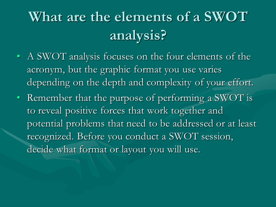 What are the elements of a SWOT analysis