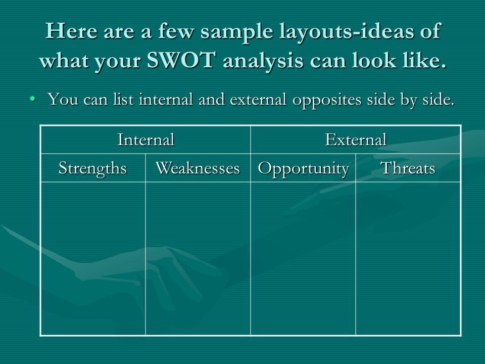 Here are a few sample layouts-ideas of what your SWOT analysis can look like.