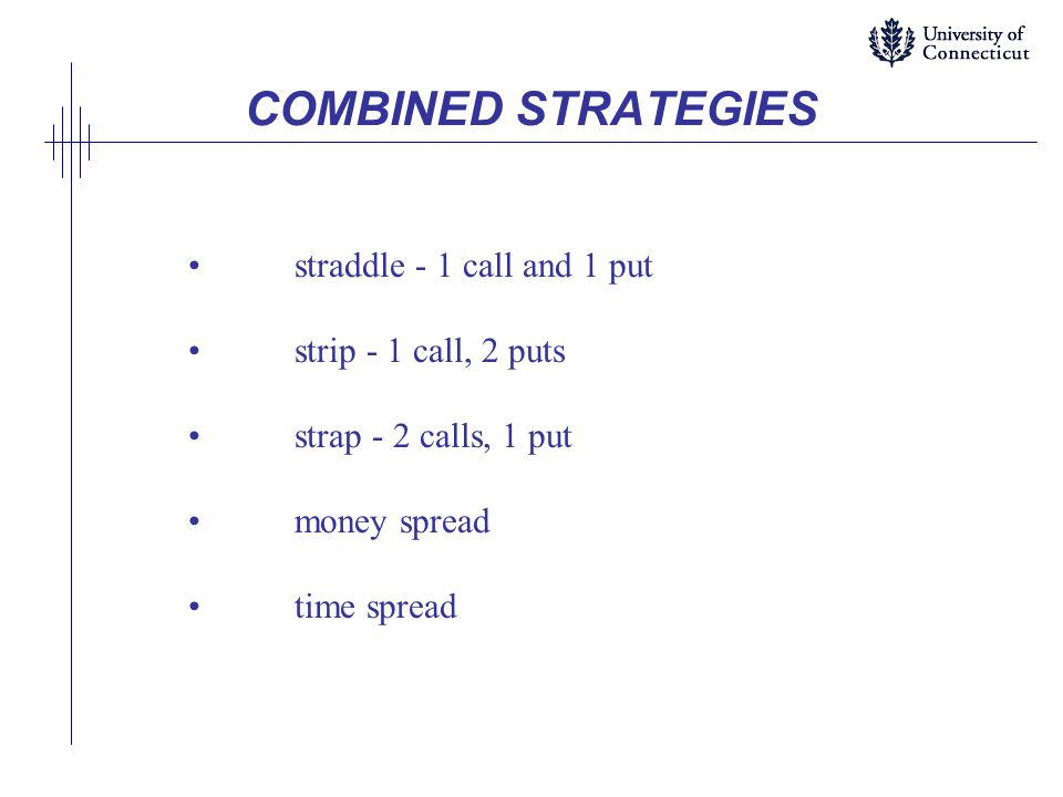 COMBINED STRATEGIES straddle - 1 call and 1 put strip - 1 call, 2 puts