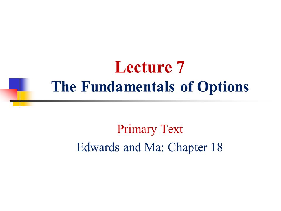 Lecture 7 The Fundamentals of Options
