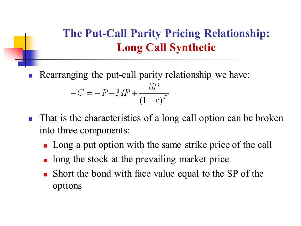 The Put-Call Parity Pricing Relationship: Long Call Synthetic