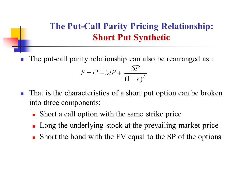 The Put-Call Parity Pricing Relationship: Short Put Synthetic