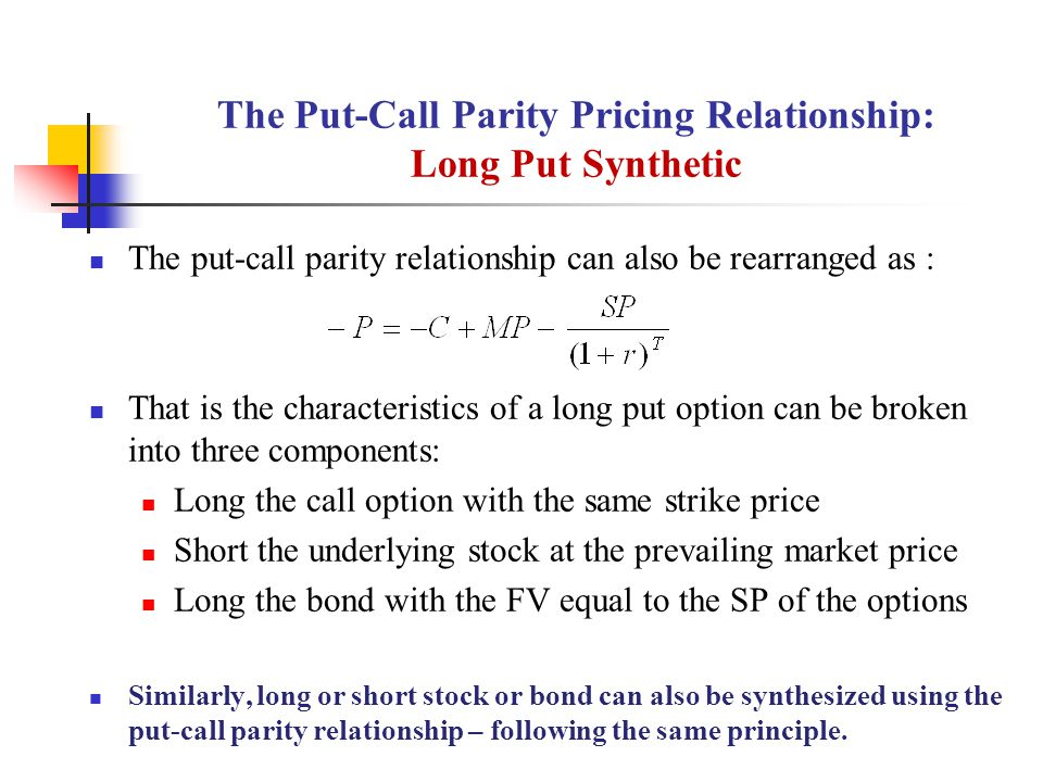 The Put-Call Parity Pricing Relationship: Long Put Synthetic