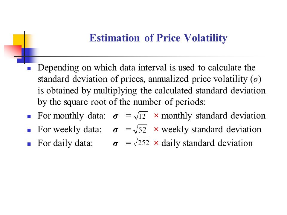 Estimation of Price Volatility