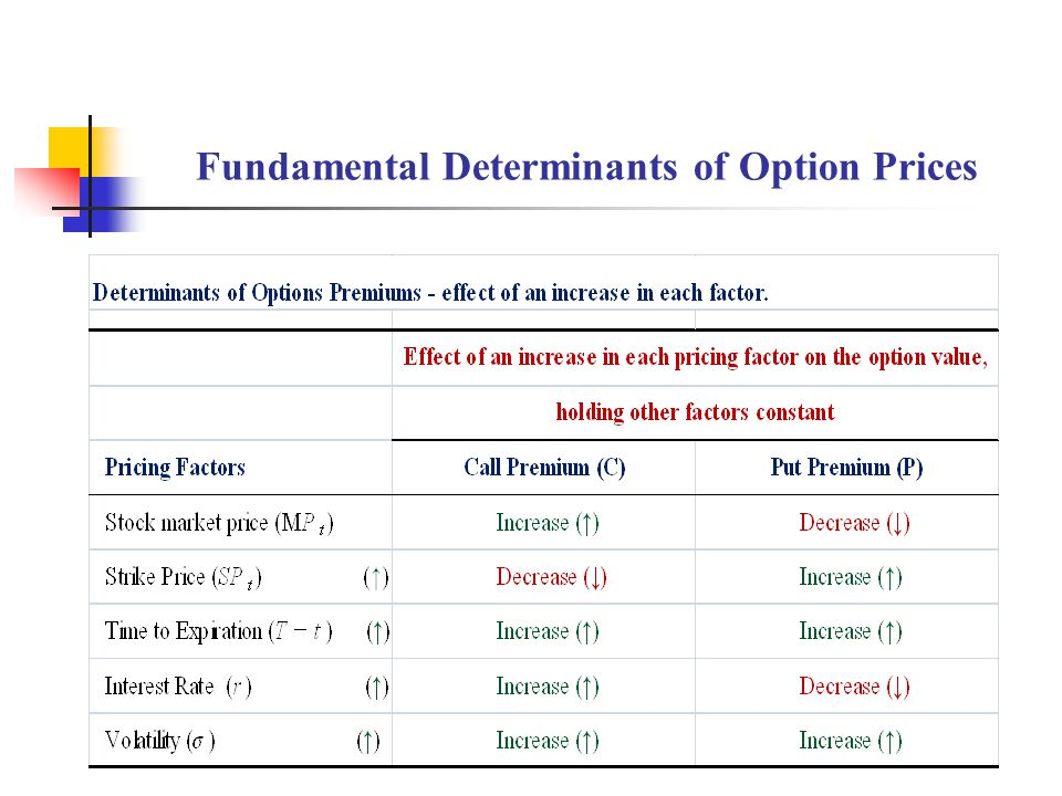 Fundamental Determinants of Option Prices
