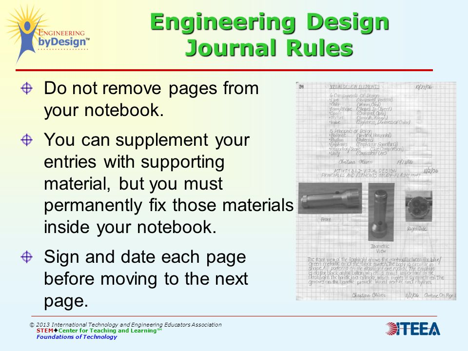 Engineering Design Journal Rules