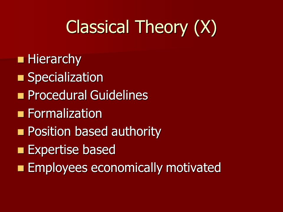 Classical Theory (X) Hierarchy Specialization Procedural Guidelines
