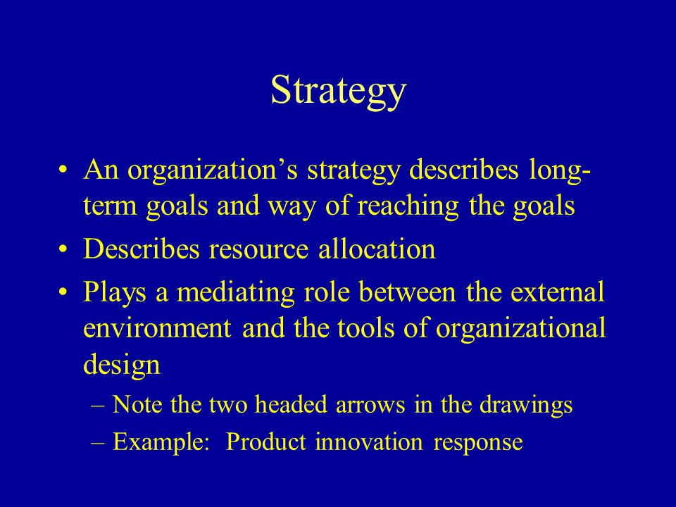 Strategy An organization's strategy describes long-term goals and way of reaching the goals. Describes resource allocation.