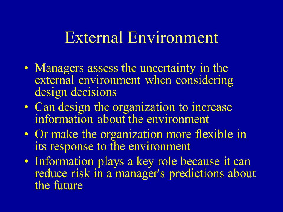 External Environment Managers assess the uncertainty in the external environment when considering design decisions.
