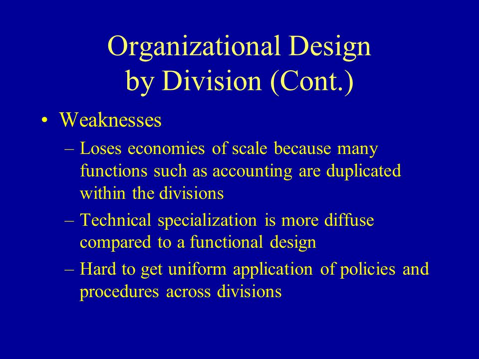 Organizational Design by Division (Cont.)
