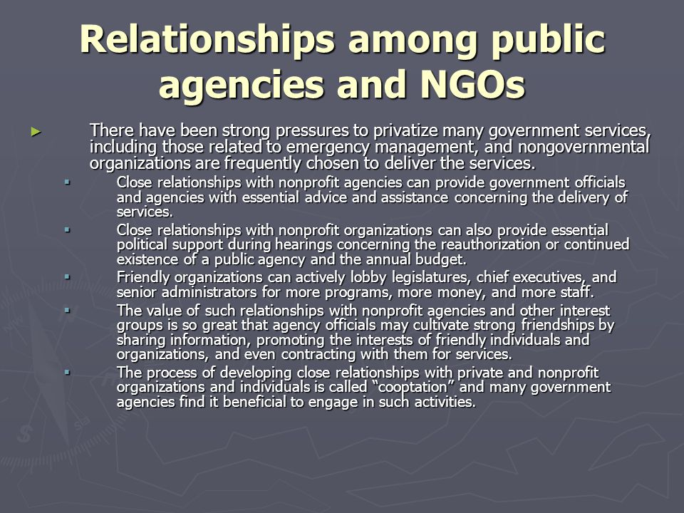 Relationships among public agencies and NGOs