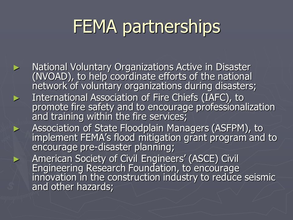 FEMA partnerships