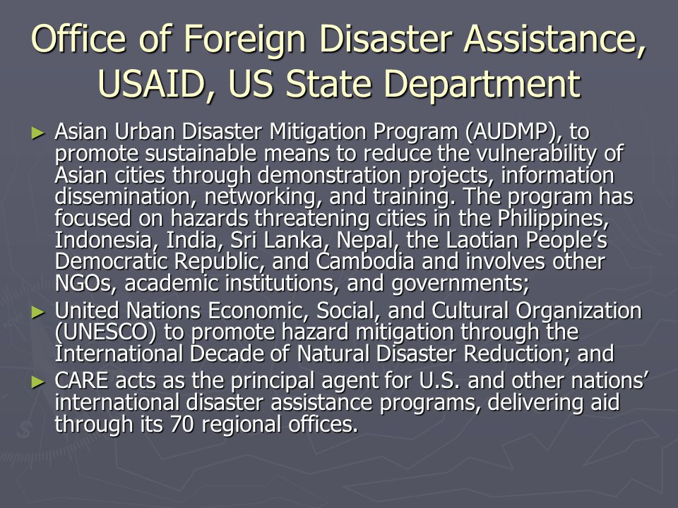 Office of Foreign Disaster Assistance, USAID, US State Department
