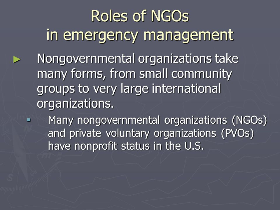 Roles of NGOs in emergency management