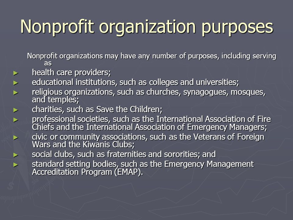 Nonprofit organization purposes